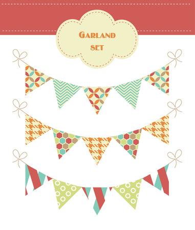 colorful garland set. vector illustration Vector