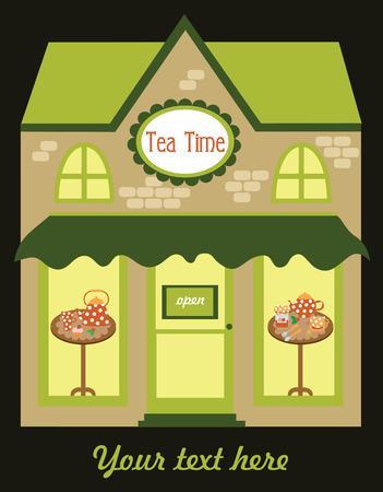 show time: tea time card design. vector illustration Illustration
