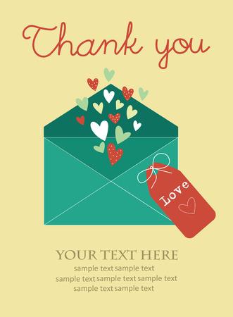 sobres para carta: le agradece diseño de tarjeta. ilustración vectorial
