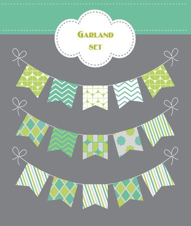 colorful garland set. vector illustration