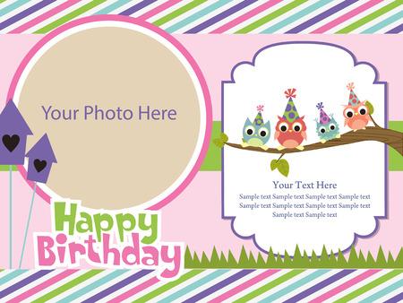 happy birthday invitation card design. vector illustration Vector