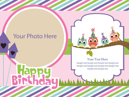 owl cute: happy birthday invitation card design. vector illustration Illustration