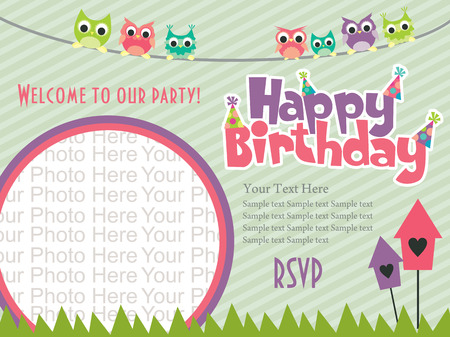 happy birthday invitation card design. vector illustration Ilustração