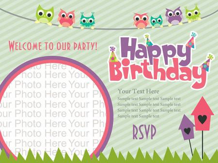 happy birthday invitation card design. vector illustration Illustration