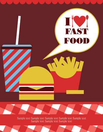 unhealthy food: I love fast food card design. vector illustration