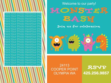monster invitation card design. vector illustration