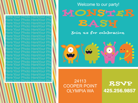 monster invitation card design. vector illustration