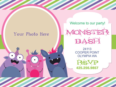 monster invitation card design. vector illustration Stock Vector - 26903678