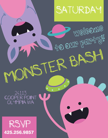 monster cartoon: monster party card design. vector illustration Illustration