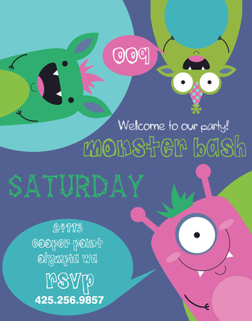 monster party card design. vector illustration Vector