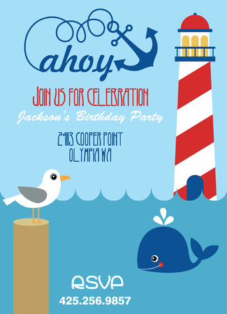ahoy party invitation card. vector illustration Vector
