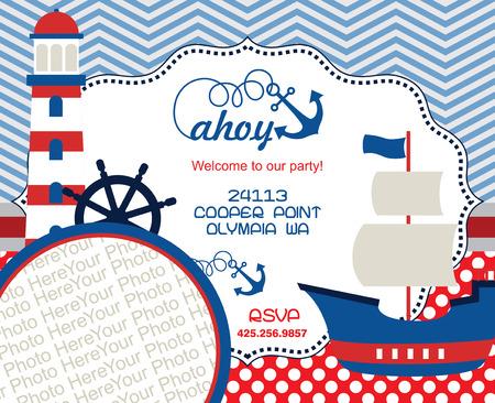 party invitation: ahoy party invitation card. vector illustration