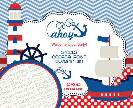 ahoy party invitation card. vector illustration