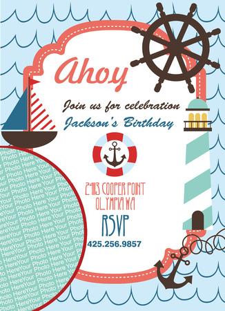 ahoy: ahoy party invitation card. vector illustration