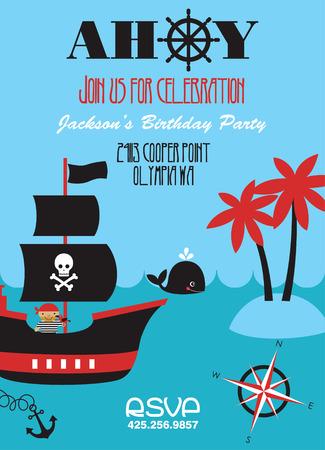 ahoy: pirate party invitation card design. vector illustration Illustration