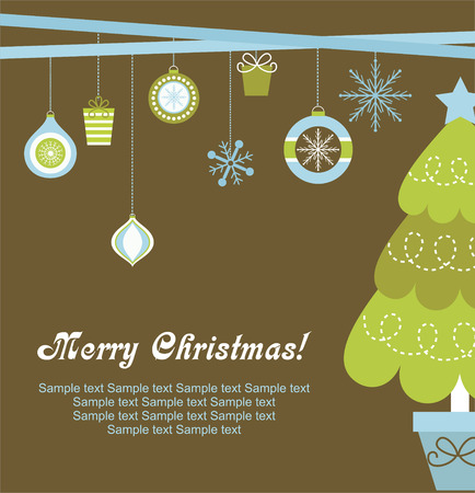 tree toys: christmas card design. vector illustration