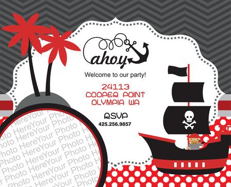 invitaci�n a fiesta: tarjeta de invitaci�n del partido del pirata con el lugar para la foto. ilustraci�n vectorial