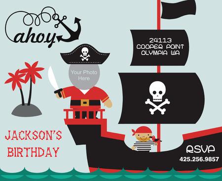 invitación a fiesta: tarjeta de invitación del partido del pirata con el lugar para la foto. ilustración vectorial