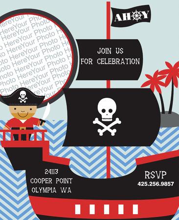 party invitation: tarjeta de invitaci�n del partido del pirata con el lugar para la foto. ilustraci�n vectorial