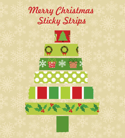 merry christmas sticky strips design. vector illustration Vector