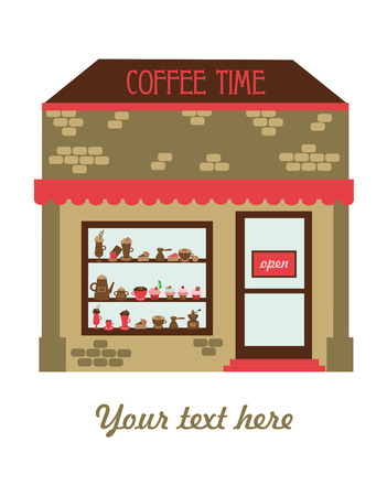 shop show window: coffee time card design. vector illustration
