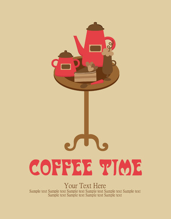 coffee time card design. vector illustration