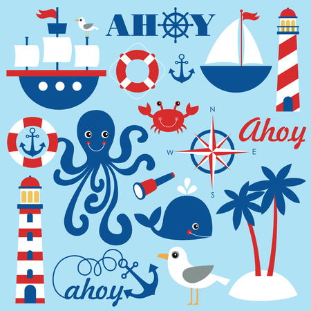 cute sea objects collection. vector illustration