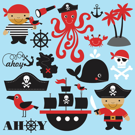 crab: cute pirate objects collection. vector illustration