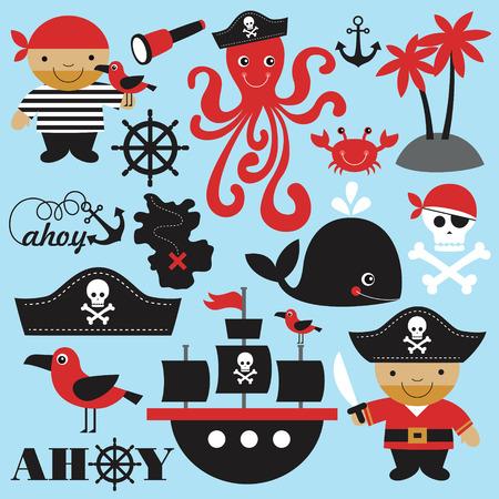 crane pirate: pirate mignon objets collection. illustration vectorielle Illustration
