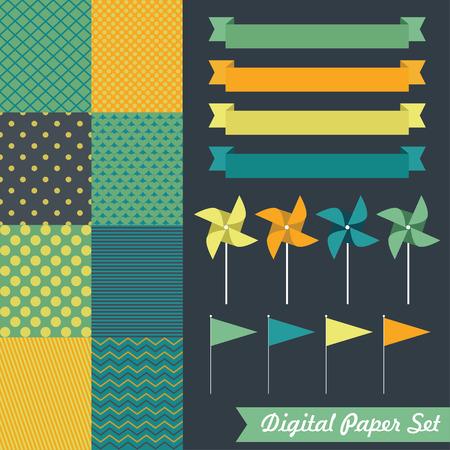 digital paper set. vector illustration Vector