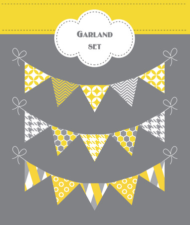 bunting: colorful garland set. vector illustration