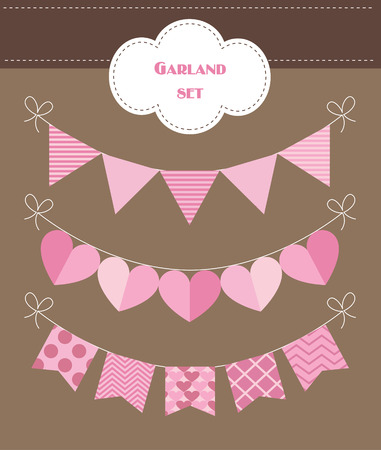 pennants: colorful garland set. vector illustration