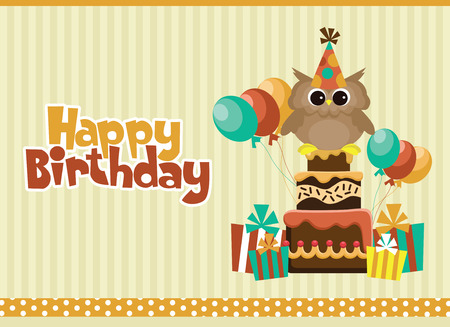cute text box: happy birthday card design. vector illustration Illustration