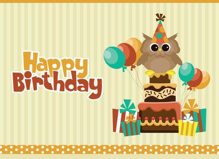 happy birthday cartoon: happy birthday card design. vector illustration Illustration