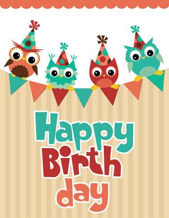 happy birthday party: dise�o de la tarjeta de cumplea�os feliz. ilustraci�n vectorial