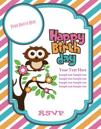 birthday greetings: happy birthday invitation card design. vector illustration Illustration