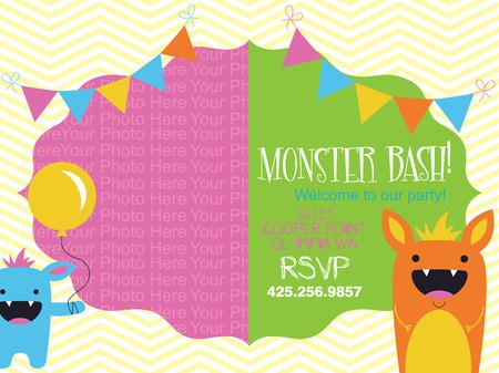 bash: monster invitation card design. vector illustration