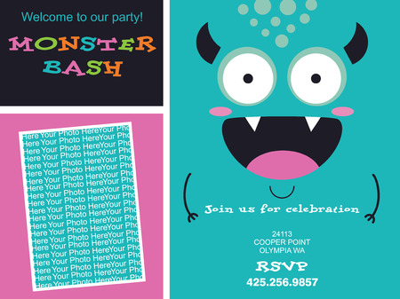 monster cartoon: monster invitation card design. vector illustration