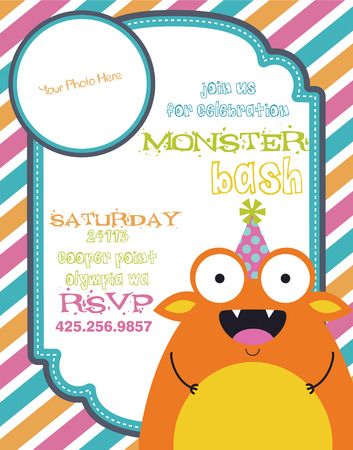 monster party invitation card design. vector illustration Vector