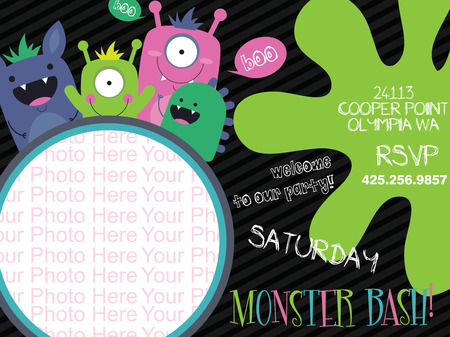 monster invitation card design. vector illustration Vector