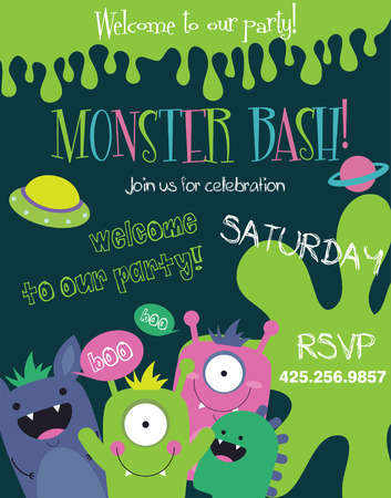 monster cartoon: monster party card design. vector illustration Illustration
