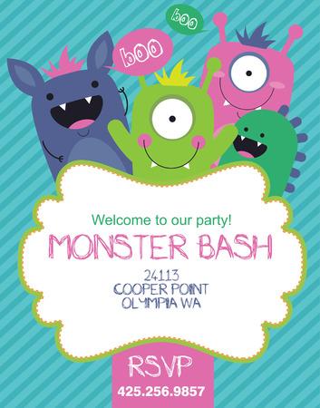 invitacion fiesta: diseño de la tarjeta del partido monstruo. ilustración vectorial