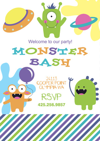 monster party card design. vector illustration Stock Vector - 26907161