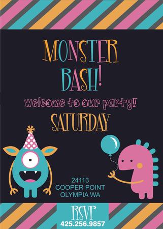 monster party card design. vector illustration Stock Vector - 26907512