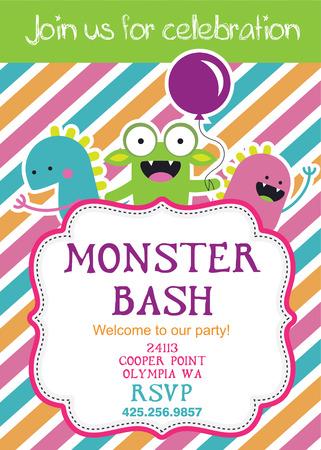 bash: monster party card design. vector illustration Illustration