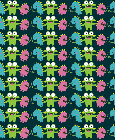 monster seamless pattern design. vector illustration Vector