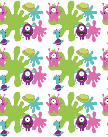 alien cool: monster seamless pattern design. vector illustration