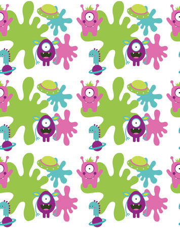 cool boy: monster seamless pattern design. vector illustration