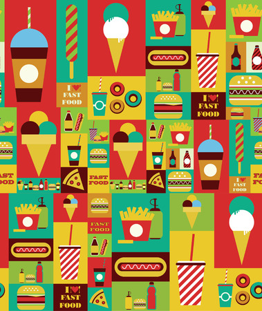 fast food seamless pattern design. vector illustration Vector