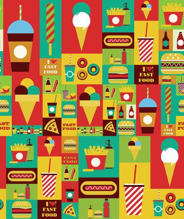american food: fast food seamless pattern design. vector illustration Illustration